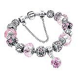 Bracelet Femme, Morbuy Style Européen Plaqué Argent Bracelets pour les Filles avec Sécurité de la Chaîne Amour avec Charms étoiles (20 cm, Rose)