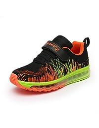 Unisex-Kinder Sneaker Laufschuhe Hohl Atmungsaktiv Klettverschluss Leuchtend Sportschuhe Ultraleicht Streifen Schick Schuhe Grau 32 2a4Hscule