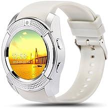 Kivors Reloj Inteligente, Bluetooth Smartwatch Pulsera Deportes Fitness Tracker Tarjeta SIM y TF con Seguimiento de Pasos, Dormir Monitor, Pulsación de Notificación de Mensaje para Android e IOS (Blanco+Plata)