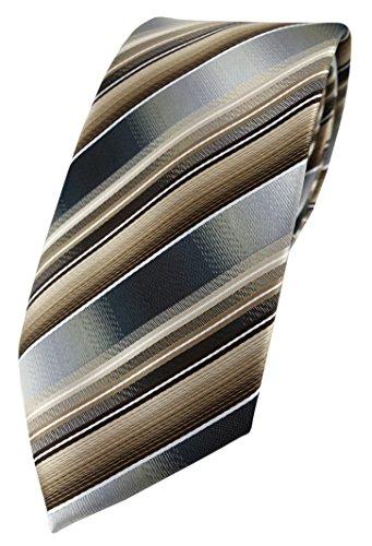TigerTie Designer Krawatte in braun beige silber anthrazit grau gestreift
