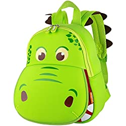 Yisibo Mochilas Para Niños Kindergarten Preescolar Para Niños Pequeños/Niñas Mochila 3D Bolsa De Animales Mochilas Mochila Para Niños Linda Mochila De Guardería(Boca grande Dinosaurio-Verde)