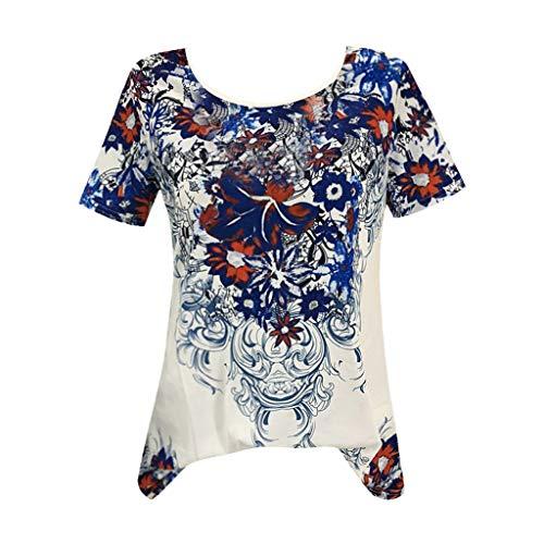 ab409aa29b578 T-Shirt Femme Humour Tee Shirt Grande Taille Ete Fleur Imprimée Tops Manche Courte  Bonjouree