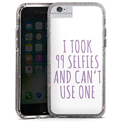 Apple iPhone 7 Bumper Hülle Bumper Case Glitzer Hülle Selfie Phrase Spruch Bumper Case Glitzer rose gold