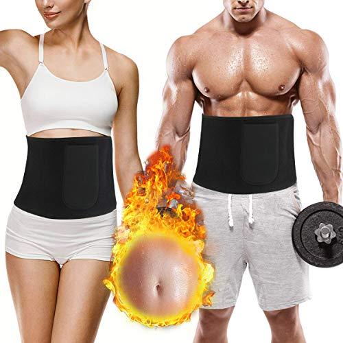 RIZON Bauchweggürtel Abnehmen Gürtel, Sauna Fitness Shapio Schweißgürtel Bauch Fett Weg gürtel mit Tragetasche für Damen und Herren Zum Schwitzen, Krafttraining und Zur Rückenstabilisierung -