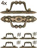 fuxxer®–4x Antiguo asas plegable | cajones, Baúles, armarios, cocinas, | Antiguo Bronce Vintage Diseño 10,5x 2cm, juego de 4con tornillos