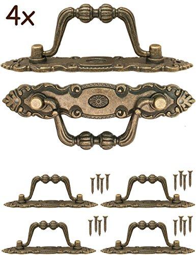 FUXXER® - 4x Antik Griffe klappbar | Schubladen, Truhen, Schränke, Kommoden, Küchen | Antik Bronze Vintage Design 10,5 x 2cm | 4er Set mit Schrauben (Restaurierung Schränke)