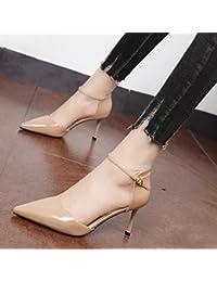 Xue Qiqi Color sólido simple y versátil, zapatos de mujer de punta fina solo zapatos con la cara vacía de alta...