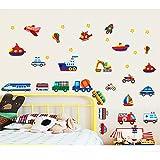 TAOYUE Cartoon varie auto trasporto adesivi murali per camerette camere da letto aereo auto navi moto decalcomanie decorazione della parete fai da te