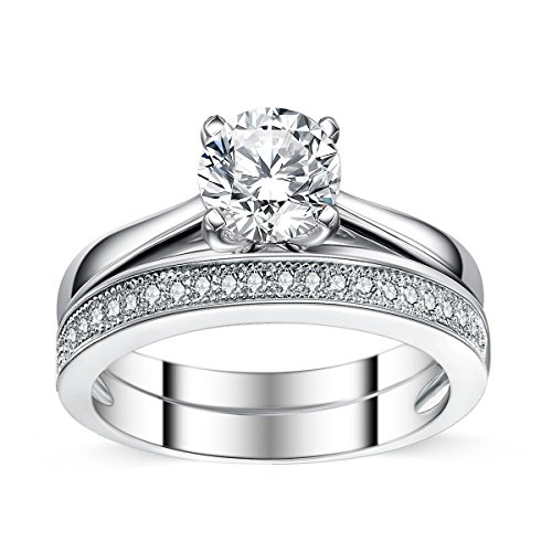 Sreema London Elegant 925 Sterling Silver Solitaire Women's Wedding Engagement Promise Ring Set with Box Included (52 (16.6)) (Wedding Diamant Band Eternity)