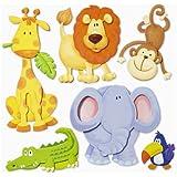 Stickerkoenig Wandtattoo 3D Sticker Wandsticker Kinderzimmer - niedliche Tiere Afrikas Löwe, Elefant uvm.- Deko auch für Fenster, Schränke, Türen etc auf Bogen