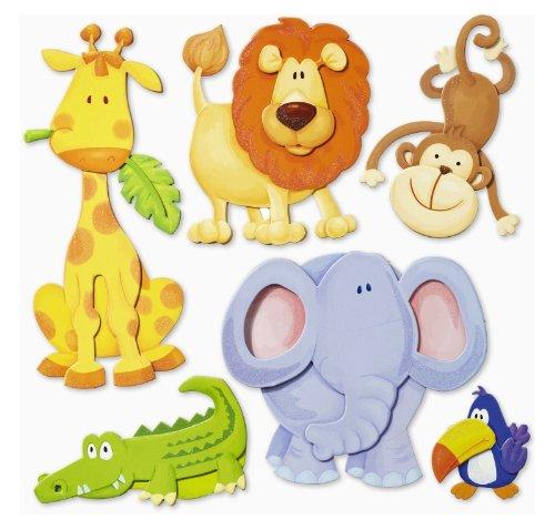 dschungel wandtattoo Stickerkoenig Wandtattoo 3D Sticker Wandsticker Kinderzimmer - niedliche Tiere Afrikas Löwe, Elefant uvm.- Deko auch für Fenster, Schränke, Türen etc auf Bogen