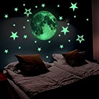 Lamdgbway Luminous Stars and Moon Decals Stickers Glow In The Dark Fluorescent Stickers For Kids