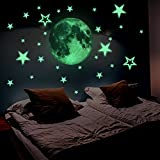 Lamdgbway Luminous Stickers 26pcs Stars and 30cm Moon Decals Glow In The Dark Fluorescent Stickers For Kids' Bedroom Nursery Room Home Decor Wall Decorative Stickers