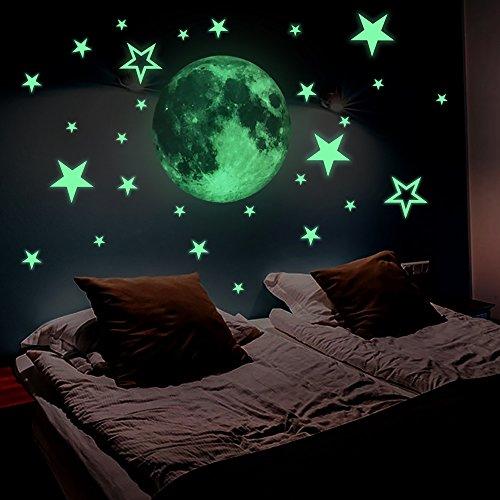 Lamdgbway luminoso 26pcs stelle e 30cm luna adesivi si illuminano al buio fluorescenti decalcomanie per parete decorativa