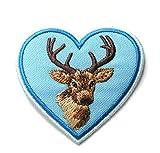 Aufnäher Bügelbild Aufbügler Iron on Patches Applikation Herz mit Hirsch 6,8 x 6,6cm Farbe: Blau vor205-2