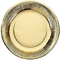 Talking Tables Modern Metallics Medium Gold Foil Paper Plates for Weddings, Celebrations, Party, 24cm (8 Pack in 1 design)