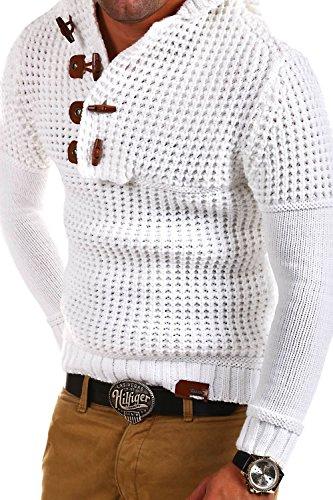Tazzio Strick Hoodie mit Knebelverschluss Pullover 14-413 [Weiß, L]