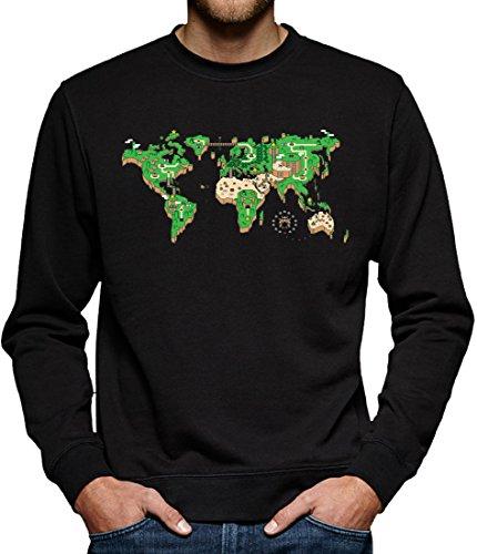 TLM Mario Weltkarte Sweatshirt Pullover Herren XL Schwarz