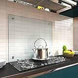 Melko Spritzschutz Herdblende aus Glas, für Küche, Herd, Fliesen, 6 mm ESG Sicherheitsglas, Küchenrückwand, inkl. Schrauben, 70 x 55 cm, Klarglas