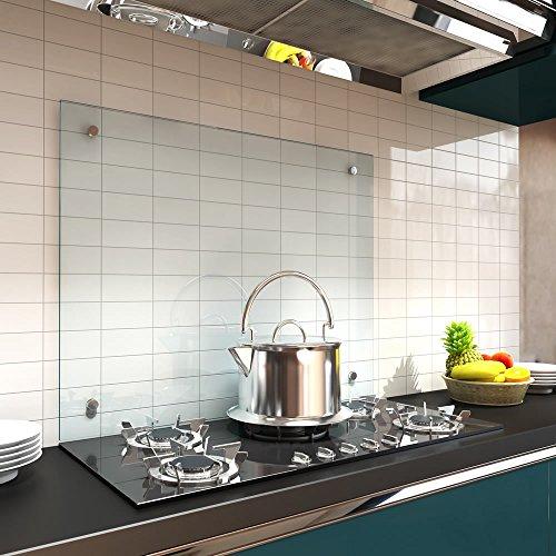 Melko Küchenrückwand 70x55 cm Herdabdeckplatte 6 mm ESG Sicherheitsglas Spritzschutz Herdblende Fliesenspiegel inkl. Montagematerial