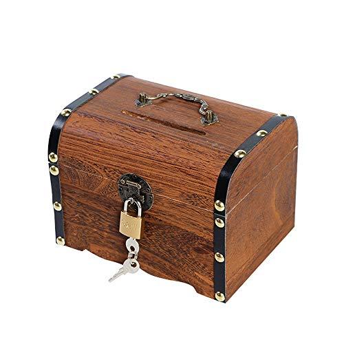 eTACH Abschließbare Spardose aus Holz mit Piratenschatztruhe Aufbewahrungsbox Geschenkbox mit Vorhängeschloss Sparschwein, L(14.5x14x19.5 cm)
