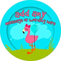 Flamingo Bird Sticker Labels Personalised Seals Ideal for Party Bags, Sweet Cones, Favours, Jars, Presentations Gift Boxes, Bottles, Crafts