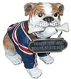 Hund ,englische Bulldogge mit Schild lebensgroß 37cm für draußen aus Polyresin