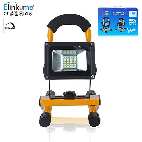 ELINKUME Led Fluter Akku 15W RGB Dimmbare Scheinwerfer tragbar mit Gestell LED Strahler 90º Abstrahlwinkel Außenleuchte USB-Schnittstelle (Wiederaufladbar)