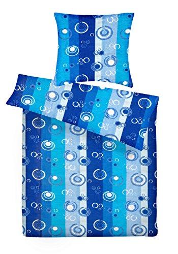 Carpe Sonno leichte Seersucker Bettwäsche Blau Türkis gestreift 135 x 200 cm - Kühle Sommer-Bettbezüge aus 100% Baumwolle - Schöne Bettwaren-Garnitur 200x135 modern & bügelfrei -