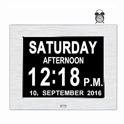 cker, Digitaler Kalender Tag Uhr für Gedächtnisverlust Senioren Demenz Alzheimer's Sehbehinderten Patienten, 5 Alarme Geschenk für Geburtstag Weihnachten (Silber) (Bild Einen Tag Kalender)