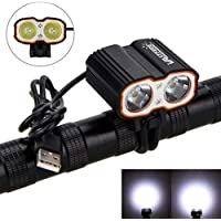 Nologo - Faros delanteros para bicicleta, 8000 lm, 2 x XM-L T6 LED, luz frontal para bicicleta, puerto USB, 5 V, para bicicleta