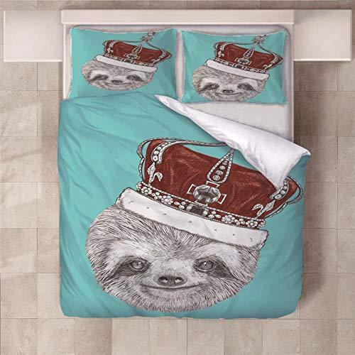 JKCloth Bettbezug Set mit 2 Kissenbezug 3D Faultier König Weiches Polyestergewebe Bettwäsche Cover Set 3 Stück King Größe - 155x220cm -