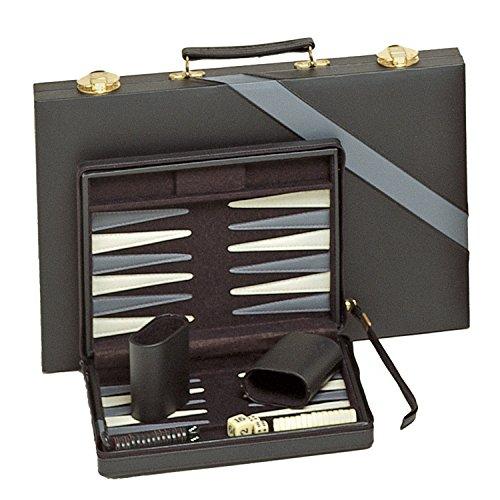 Backgammon magnético de viaje compacto con correa de transporte–color negro con rayas de color gris
