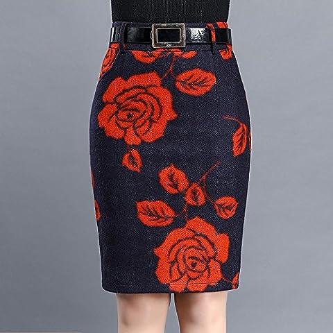 WZH Vita alta donna Visualizza sottile lana stampa gonna A-line/passo/pacchetto