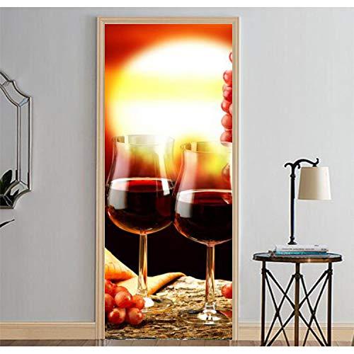 Haipeiy Türaufkleber Weinglas Bild Wandbilder Wandaufkleber Tür Aufkleber Tapete Aufkleber Home...