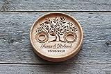 Coussin porte alliance en bois, Boîte de bague de mariage alternative gravés avec les noms et date, cadeau anniversaire mariage, Arbre De La Vie, Tree of Life.