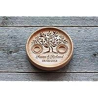 """Cuscino anelli matrimonio legno, Cuscino anello nuziale rustico, Portafedi scatola Personalizzato"""" Albero della vita"""",""""Tree of Life"""""""
