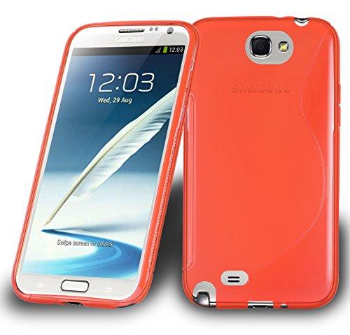 Preisvergleich Produktbild Cadorabo DE-105270 Samsung Galaxy Note 2 Handyhülle aus flexiblem TPU Silikon im S-Line Design Rot