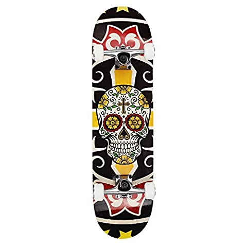NPET 31 inch (78.5cm) Complete Standard Skateboard with a Canadian 7-ply Maple Deck With Free Carrying Bag (Skull Totem)