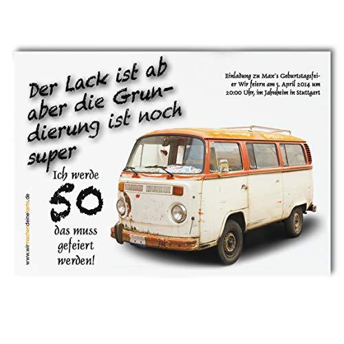Einladung Einladungskarte lustig Geburtstag (30 Stück) Alter Bus