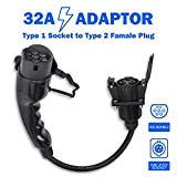 Morec Adaptador para Vehículo Eléctrico EV transforma su Cargador Tipo 1 a Tipo 2 32A, SAE J1772 a IEC 62196-2 ...