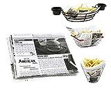 Mannily Papier de cuisine de qualité alimentaire - Papier pour garnitures de panier–Papier d'emballage pour sandwich, BBQ, mets–Illustration journaux–200feuilles 22x 22cm...