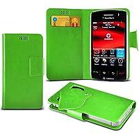 (Green) Blackberry Storm 9500 Mega sottile Protezione in ecopelle ventosa Custodia a portafoglio Pelle Copertura Caso Cover con carta di credito/debito Slot Aventus