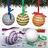 Baker Ross Bastelset Mosaik-Christbaumkugeln für Kinder – für weihnachtliche Bastelarbeiten und Dekorationen (4 Stück)