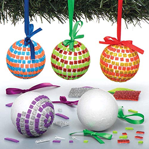 Baker Ross Mosaic Bauble Kits (Pack Of 4) For Kids Christmas Arts, Crafts And Decorations