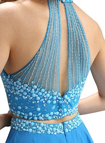 Bbonlinedress Robe courte de soirée de cocktail Robe de bal emperlée deux pièces Bleu Saphir