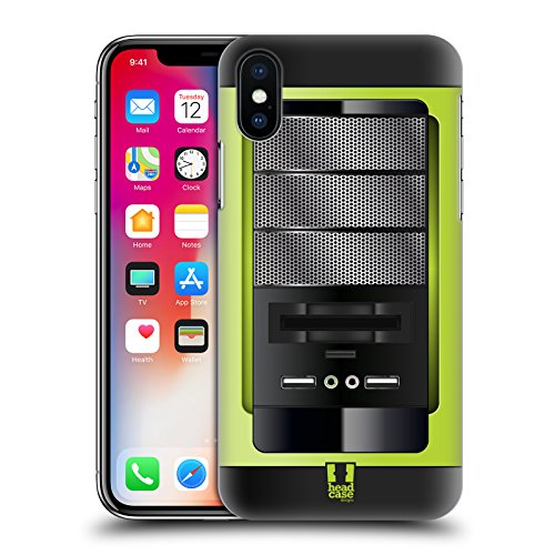 Head Case Designs Rosso Cpu Cover Retro Rigida per Apple iPhone X Verde Scuro