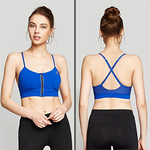 YeeHoo Stretch Workout Front Zipper bra Sports Bra Yoga Running Wear Blu