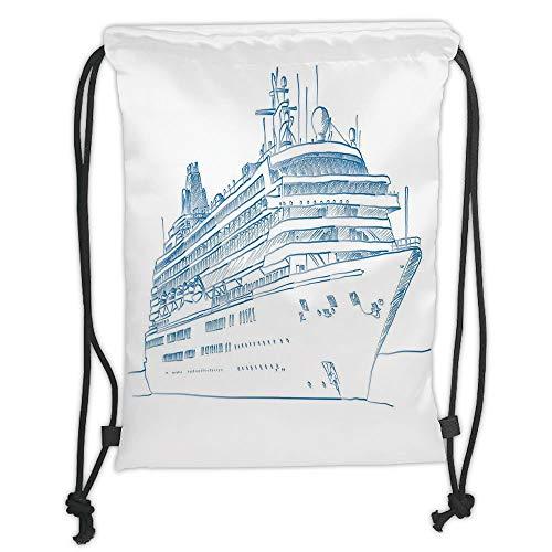 Marine,Hand Drawn Sketch Style Cruise Liner Ship Design Ocean Travel Transportation Holiday Decorative,Blue White Soft Satin,5 Liter Capacity,Adjustable S -