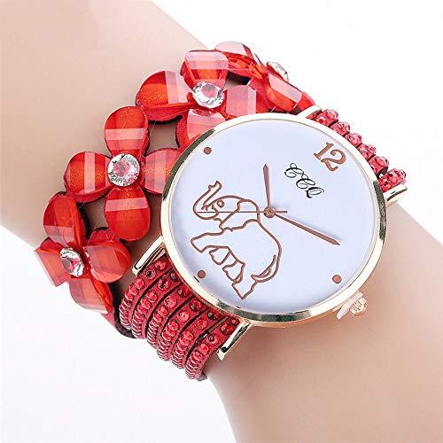 JiaMeng Relojes Pulsera Mujer, Reloj de Pulsera de Cuero Cintur¨n an¨Logo Cuarzo Relojes para Mujeres(Rojo)